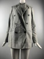 NWT ALLsaints Astrid Check Double Breasted Wool Blazer Grey Size 6