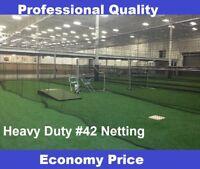 Baseball Batting Cage Net Netting #42 (54 Ply) HDPE 12' x 14' x 55'