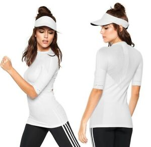 Adidas Women's Sports Stretch Shirt Net Fitness Running Stella Compression White