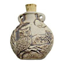 "Owl Ceramic Spell Bottle w/ Cork 1.75"" High Fire Miniature Pendant Bead NEW"
