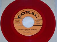 """BUDDY HOLLY Raining In My Heart/ It Doesn't Matter NM! RED REISSUE 7"""" 45 Coral"""