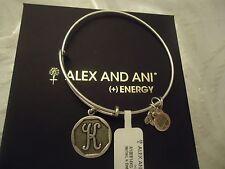 Alex and Ani Initial K Charm Bangle Bracelet Russian Silver New W/Tag Card & Box