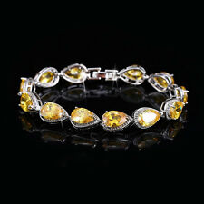 "14k White Gold Tennis Bracelet made w/ Swarovski Crystal Citrine Stone 7""+1.25"""