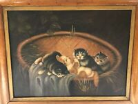 Early 20th Century OIL  CANVAS BOARD ...Kittens in Basket...Signed RONNER