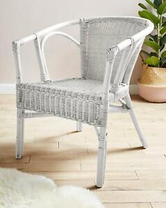 White Wicker Rattan Lightweight Balcony Outdoor Indoor Chair Home Furniture