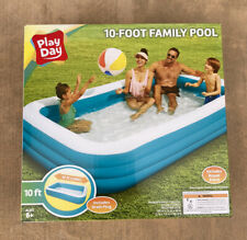 """Play Day Inflatable 10 Foot Rectangular Family Pool 120""""x72""""x22"""" NEW *SHIPS NOW*"""