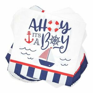 """100Pcs Nautical OH IT'S A BOY Paper Napkins 6.5"""" for Baby Shower Decorations"""