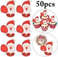 50pcs Christmas Paper Candy Chocolate Lollipop Sticks Cake Pops Xmas Party Decor