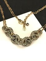 Vintage Monet Necklace Crystals Link Design Gold Tone Classic Chic 7D