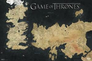 Game of Thrones Map of Westeros and Essos TV Show Poster 36x24 inch