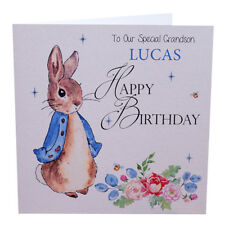 Birthday Card Personalised Handmade Peter Rabbit Grandson, Nephew, Godson, Son