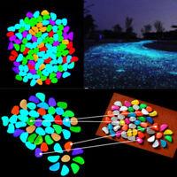 10X Aquarium Fish Tank Glow In The Dark Fluorescent Stones Pebbles Rock Random