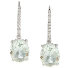 10k White Gold Oval Green Amethyst and Pave Diamond Earrings (1/8 TDW)