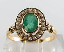 9CT 9K GOLD LARGE EMERALD & SEED PEARL VICTORIAN INS RING FREE RESIZE