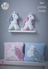 Unicorns and Unicorn Cushion Knitting Pattern for Yummy Chunky King Cole 9087