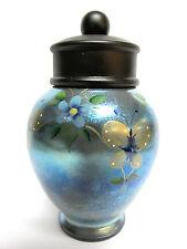 "7707HP63  ""Favrene""Art Glass, 6""Temple Jar, handpainted-Stacy Williams design"