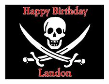 Pirates - Skull and Crossbone edible cake image decoration frosting cake topper