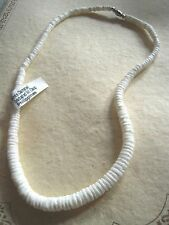 """New Necklace graduated clam shell beads RETRO Surfer Beach Hawaii 18"""" long #1"""