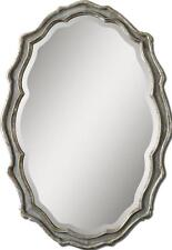 "Shaped Curved 40"" Blue Framed Oval Wall Mirror NEIMAN MARCUS Vanity"