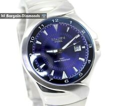 mens Elgin steel business watch calendar blue dial bracelet 165 feet gift box