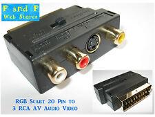 RGB Scart 20 Pin to 3 RCA AV Audio Video adapter - brand new!