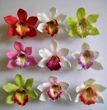 Set of 9 ~ Hawaii Bridal Wedding Party Island Orchids Foam Flower Hair Clips