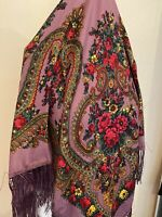 Russian Pavlovo Posad style wool blend shawl with tassels. Dirty Pink