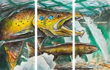 Ed Anderson The Chase Triptych Giclee on Canvas 60 x 30