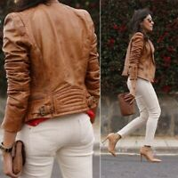 ZARA RARE AND SOLD OUT BROWN TAN COGNAC BIKER JACKET SIZE M 3461/201