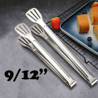 "1PC 9/12"" Stainless Steel Salad Tongs BBQ Cooking Food Serving Utensil Tong Tool"