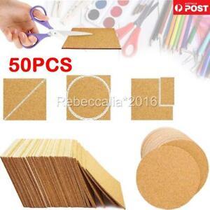 50PCS Self-adhesive Cork Coasters Square Cork Mats Cork Backing Sheets DIY Craft