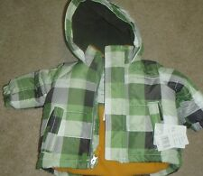 CARTER'S GREEN PLAID TODDLER BOY WINTER JACKET SZ 6MNTHS NEW W/TAG ORIG $50