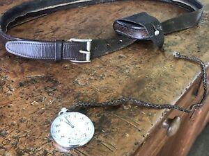 Vintage Omega Geneve Pocket Watch  & Bushmans  Belt