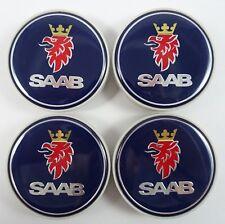 Saab Wheel Center Caps Set of 4 New 12775052 12802487 Blue 9-3 9-5 900 9000