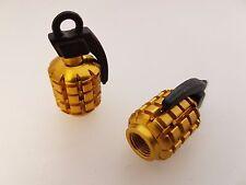 POSH - Bicycle/Motorbike/Car Tyre valve caps - Gold Hand Grenade 2pkt