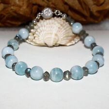 Aquamarin Armband mit Labradorit + Magnetschließe  925 Silber   blau grau 19,5cm