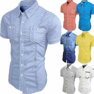 Mens CASUAL BUTTON DOWN SHIRTS Dress Tee Short Sleeve Slim Fit Summer Woven