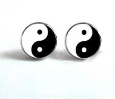 Yin Yang Stud Earrings ~ Cabochon Yin and Yang Black and White Studs Jewellery