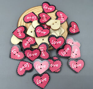 50pcs Wooden Sewing buttons exquisite heart-shaped LOVE Scrapbooking 2-hole 23mm
