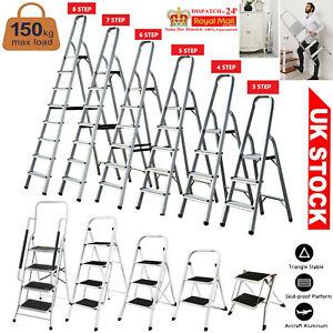 Aluminium Folding Step Ladder 2 3 4 5 6 7 8 Tread Stepladder Anti-Slip Rubber UK