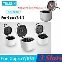 TELESIN ALLIN BOX 3 Slot Battery + Charging SD Card Storage for Gopro 7/6/5 US