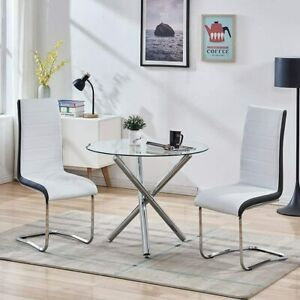 3 Piece Dining Table Set Tempered Glass Table & 2 Chairs for Kitchen Dining Room