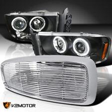 2002-2005 Dodge Ram Black LED Halo Projector Headlights+Chrome ABS Hood Grille
