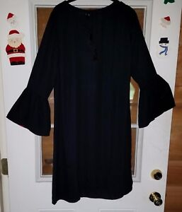 Solid Black Flare Bell Sleeve Dress 14W - 16W Plus Size New