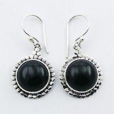Silver earrings hook black agate gemstone 14mm Round handmade on 925 sterling