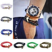 1Pcs Hot Multilayer Leather Handmade Rope Wristband Men's Anchor Bracelet Bangle