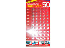 Pack De 50 Alcalinas buttun Baterías Tamaños: Ag1, Ag3, Ag4, Ag10, Ag12, Ag13