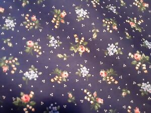 Vintage Fabric New Pretty Blue Floral Cranston Prints 100 % cotton