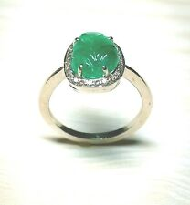 Handmade 925 Silver Ring-Emerald Gemstone,Green Color Ring-Diamond Ring