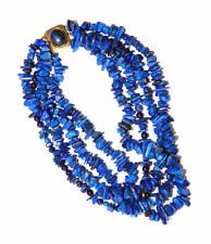 Vintage LAPIS LAZULI LAYERED CLUSTER NECKLACE CHOKER w/ Silver Clasp, ca.1950